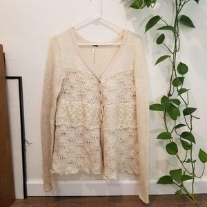 Free People Knit Lace Cardigan Size M Honeysuckle